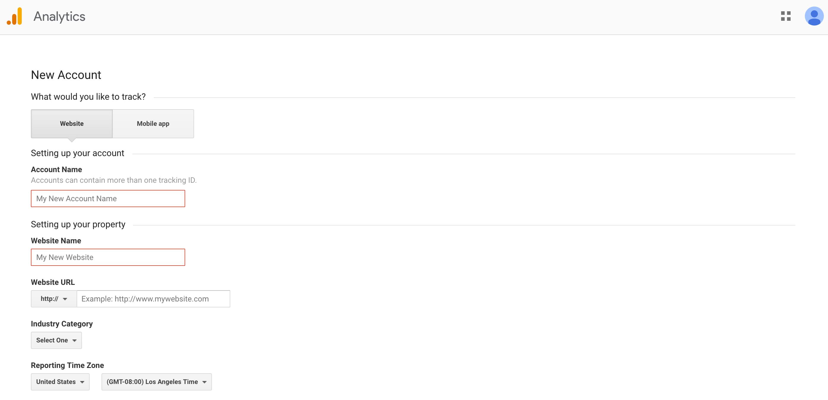 Set up Google Analytics Step 1 Start Account