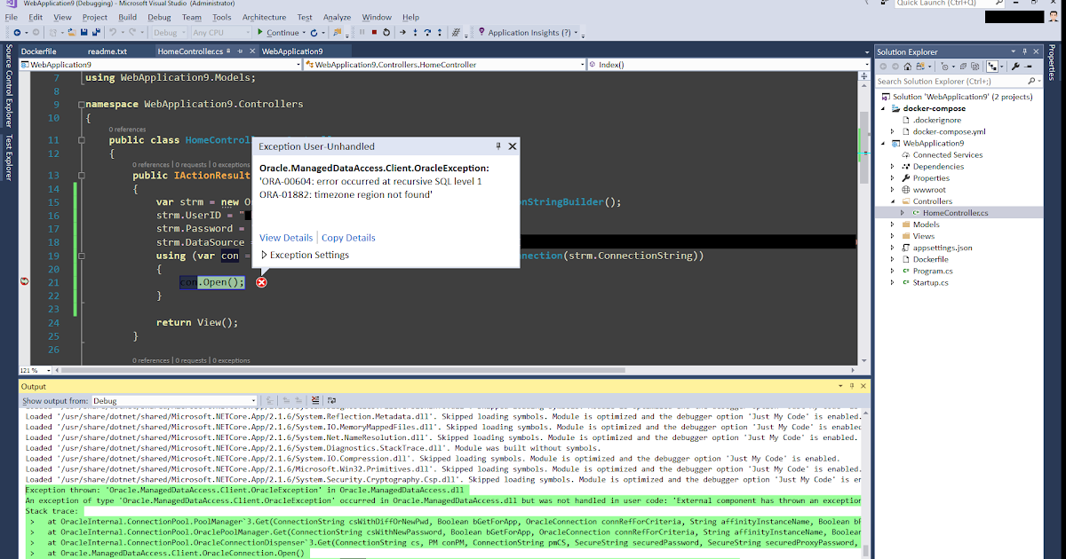 asp.net core docker container using Oracle Managed Driver Core. throws  ORA-00604 and ORA-01882 when opening...