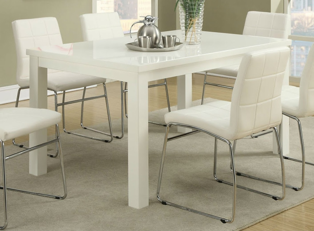 Poundex F2407 White Wood Dining Table - Steal-A-Sofa ...