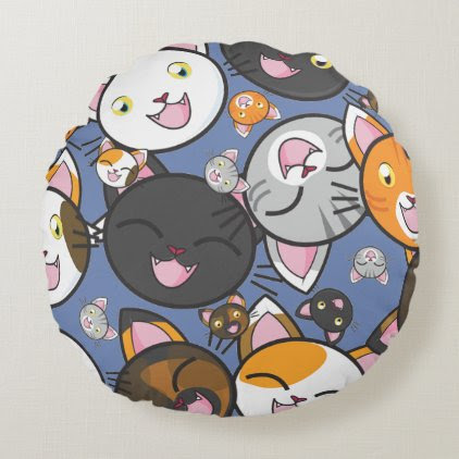 Oodles of Kitty- Round Pillow (choose colors)