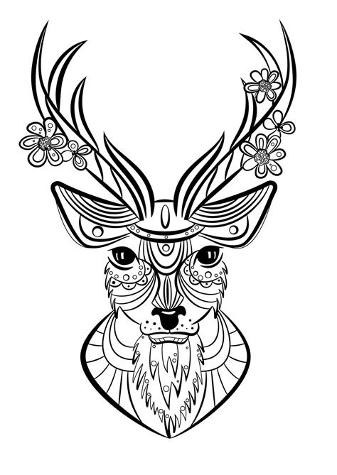 coloriage animaux cerf mandala animaux coloriage