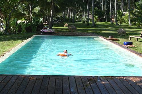 celia swimming in the pool