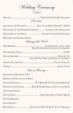 Wedding Script Ideas and Examples   wedding   Pinterest