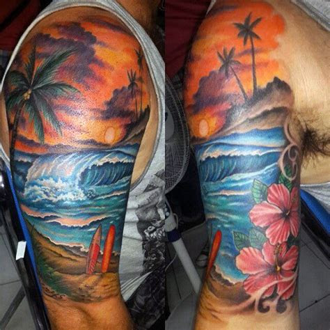 beach tattoos  men serene sandy shore designs
