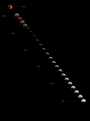 Total lunar eclipse, August 28 2007 as seen fr...