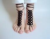 Barefoot sandles, Black Barefoot sandals, Wedding beach party, crochet sandals, foot jewelry, yoga, leg decoration, anklet, hippie sandals - beyazdukkan