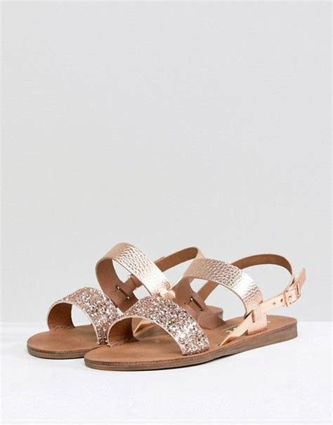 office honey rose gold glitter flat sandals shoes
