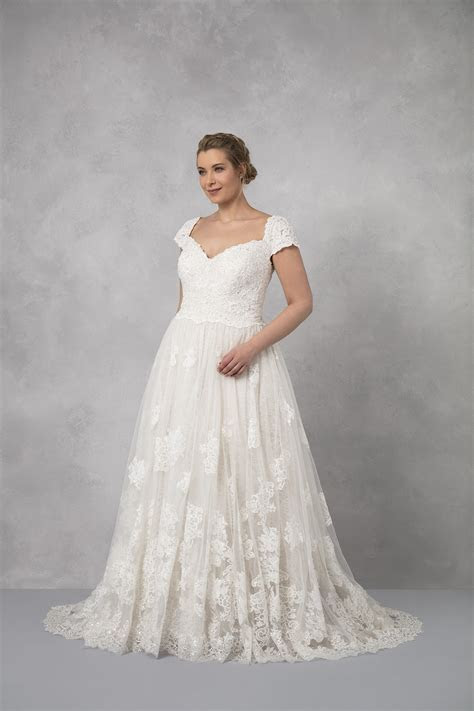 Cap Sleeve Lace Plus Size Ball Gown Wedding Dress 8CWG768
