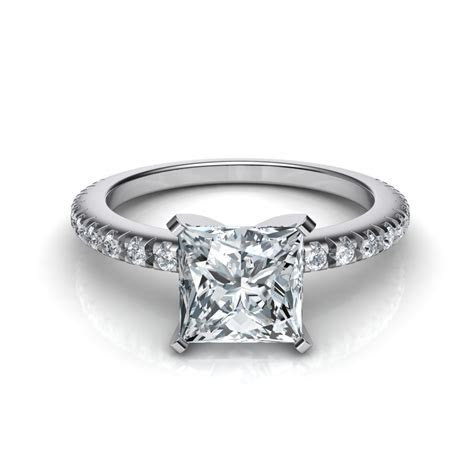 Thin French Cut Pave Engagement Ring