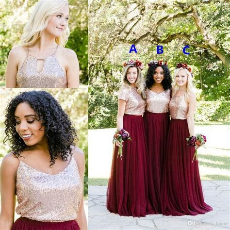 Rose Gold Sequins Burgundy Country Two Pieces Bridesmaid