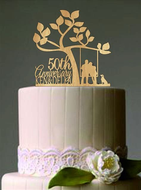 Happy 50 th anniversary cake topper,Wedding Couple in a
