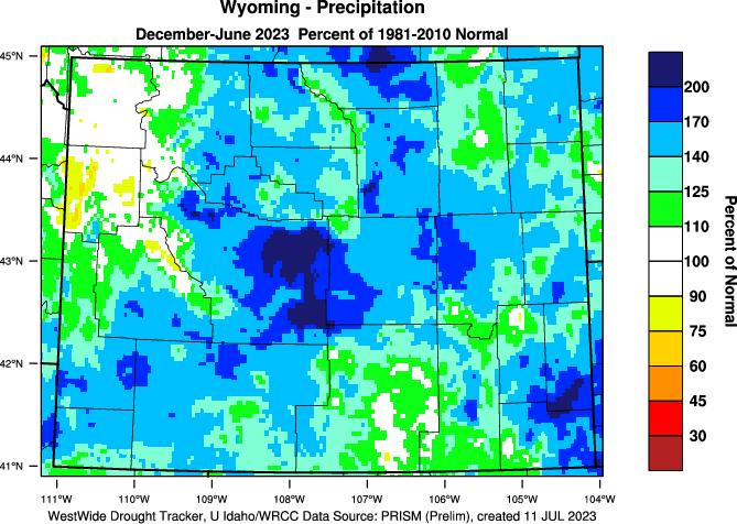 Wyoming: 2015 Percent of Normal Precipitation