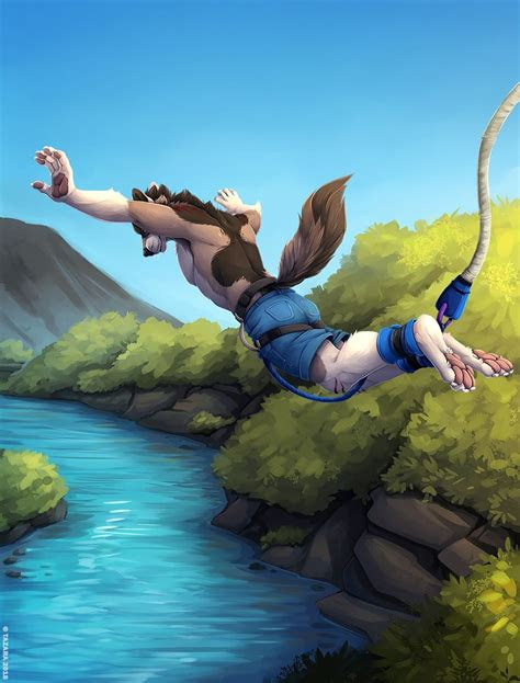 wolf bungee jumping awooo furry stuff furry