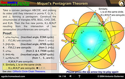 Dynamic Geometry: Miquel's Pentagram Theorem. HTML5 Animation for Mobile Devices