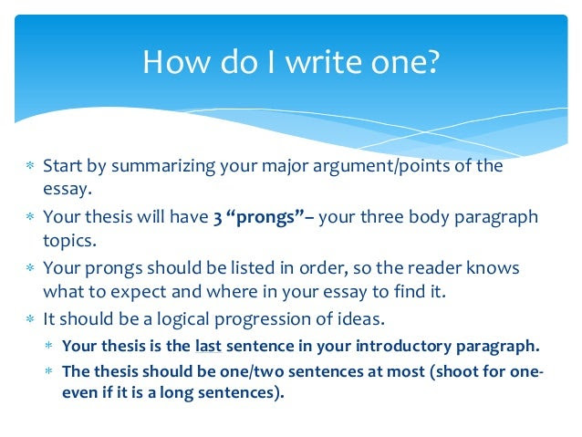 what is a three pronged thesis statement