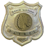 close-up of badge detail