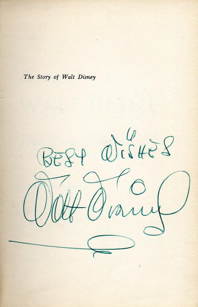 Disney Biography (US edition), autographed by Walt Disney