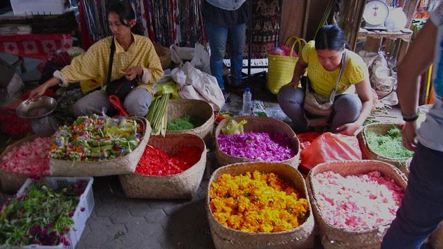 offering flowers for sale, Ubud market
