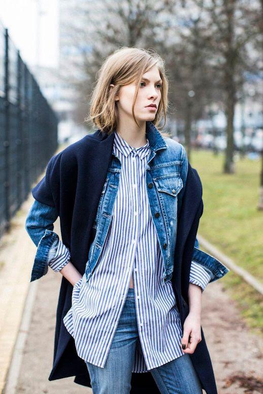 Le Fashion Blog 25 Ways To Wear A Striped Button Down Shirt Denim Jacket Coat Charlie Via A Love Is Blind Jeans