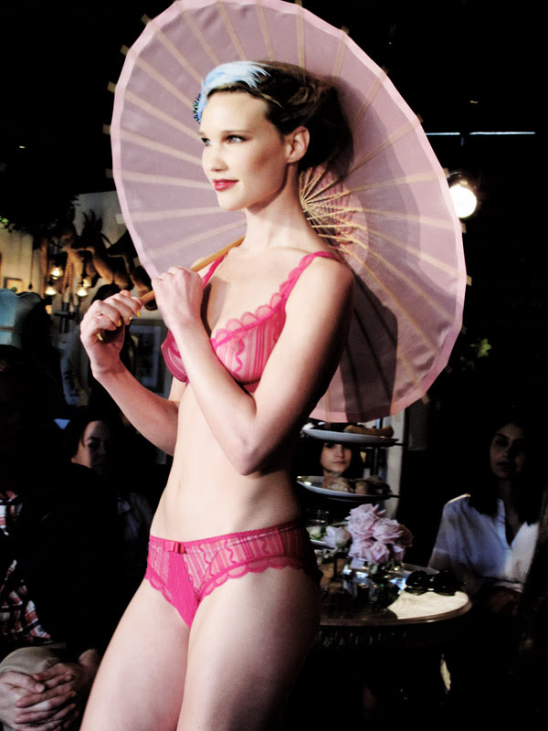 F Huit8 lingerie Launch Sydney, Model in China Girl Lingerie with pink Umbrella
