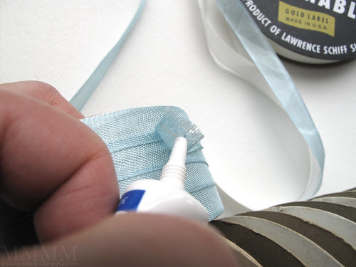 Step 18) If your ribbon is the type that will fray, you may want to seal the end with a bit of glue as a fray check