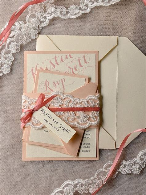 Coral and Peach Wedding Invitation, Veil Lace Wedding