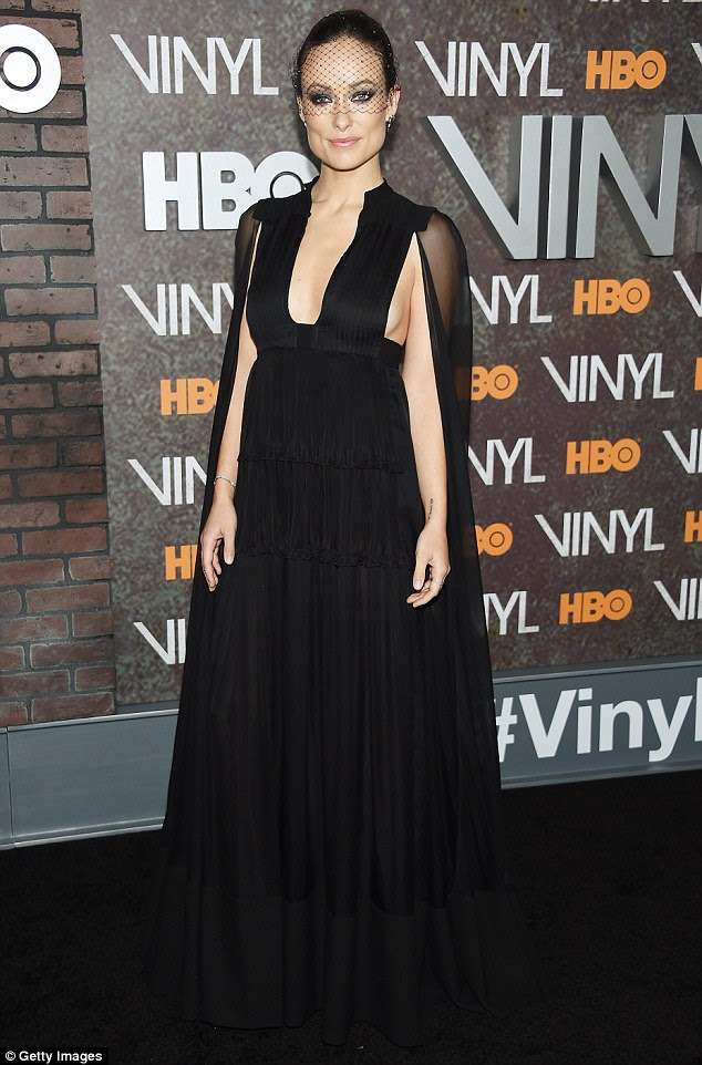 Feeling Wilde: Olivia wore a daring black gown to the New York City premiere of her new show Vinyl on Friday
