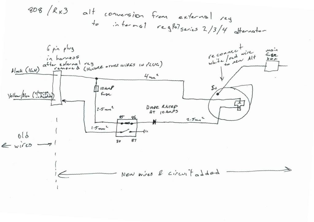 External Regulated Alternator Wiring Diagram