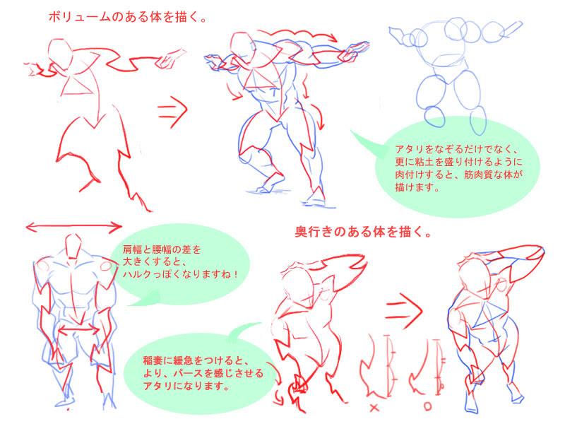 画期的稲妻型アタリで動きそうな体を描く方法 お絵描きあんてな