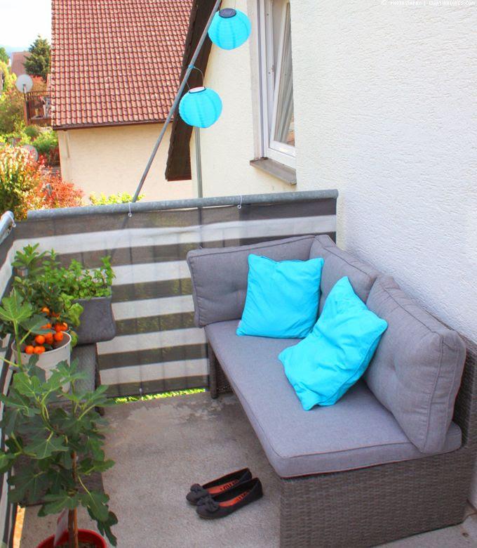 Balkon, kleiner Balkon, Aperol, LED, Lichterkette, IKEA, Feigenbaum
