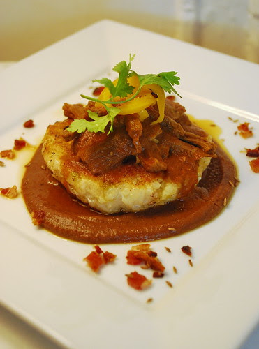 Carne Mechada on Risotto Cake