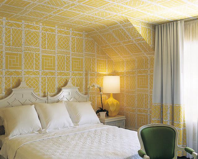 Yellow Wallpapered Bedroom