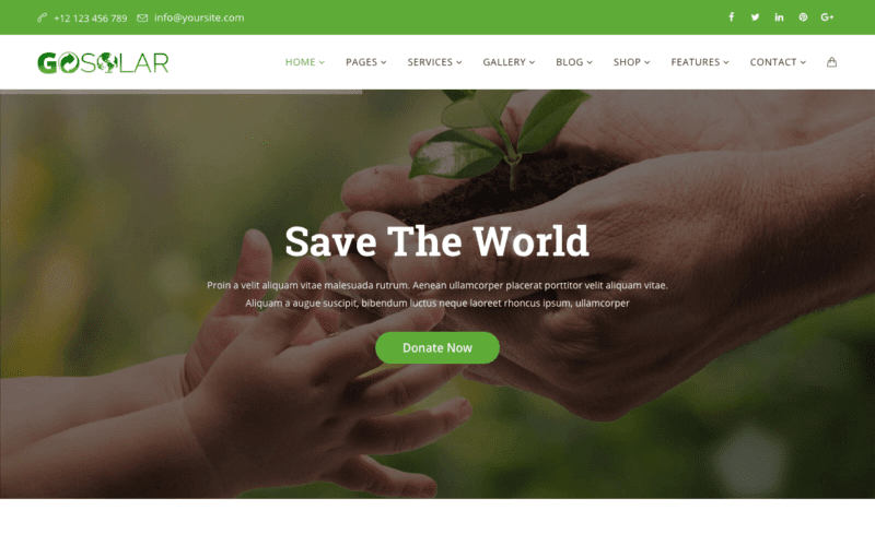 Go Solar WordPress theme