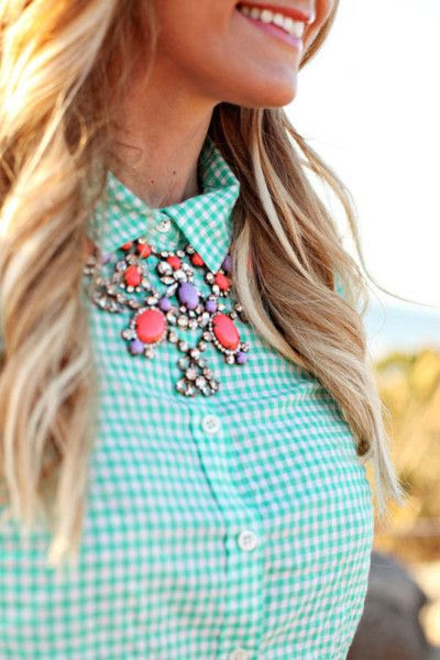 Pastel gingham and a statement necklace - glam time on the farm! Check out styles like this and more at www.thestatementnecklace.com