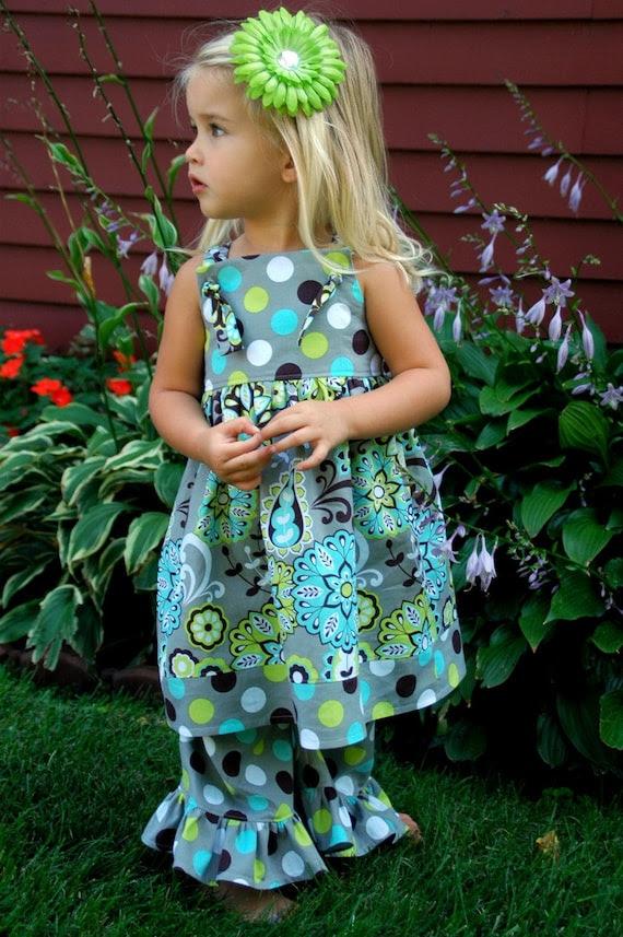 Grey, Brown, Lime Green, and Turquoise Polka Dot and Paisley Knot Dress