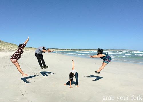 Dragon Ball Z aka hadouken jumping photo at Bales Beach, Kangaroo Island