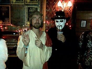 Costumers in bar, Halloween in New Orleans. Jesus!