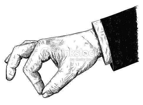 ベクトル芸術的なイラストやピンチの指の間には小さな何かのスーツの