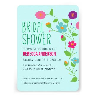 Colorful Flowers & Leaves Bridal Shower Card