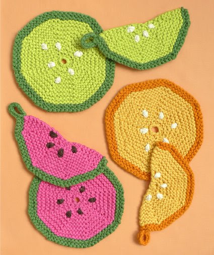 Free Knitting Pattern for Fruity Trivets and Potholders
