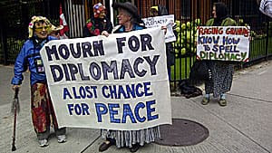 The Raging Grannies protested in front of the newly closed Iranian embassy that Canada cut off its limited diplomatic relations with the country.