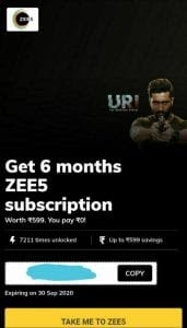 Get 6 Months Zee5 Premium Subscription Free Zee Premium No Card Required April 2020 Wazimtech