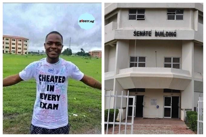 "FUTMINNA graduating student rocks ""Cheated in every exam"" t-shirt causes Uproar"