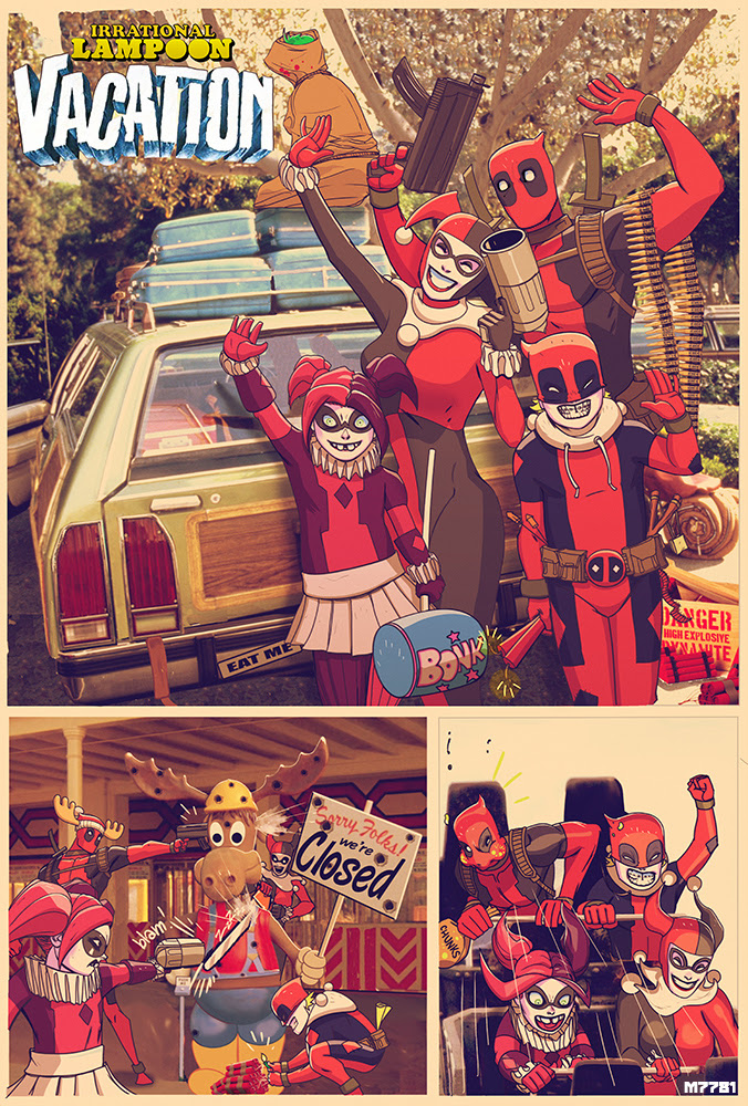 """Deadpool and Harley Quinn in """"Irrational Lampoon Vacation ..."""