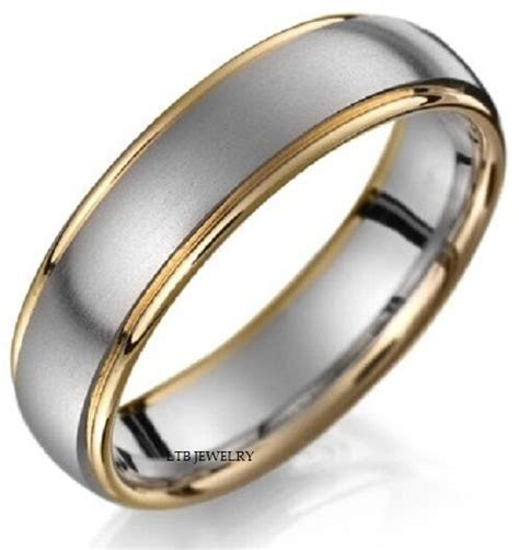 18K TWO TONE GOLD MENS WEDDING BANDS RINGS SATIN FINISH