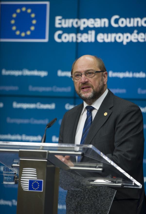 Martin Schulz, Presidente del Parlamento Europeo, en la sala de ruedas de prensa del Consejo Europeo.