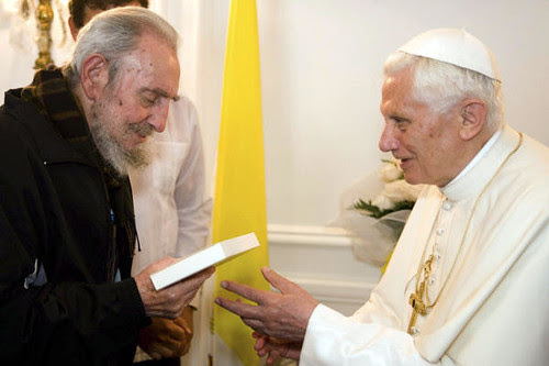 Former Cuban President Fidel Castro meets with Pope Benedict XVI in Havana on March 28, 2012. The Pope called for the lifting of the US embargo on the socialist Caribbean state. by Pan-African News Wire File Photos