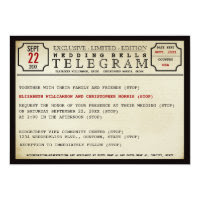 Vintage Telegram Style Wedding Card