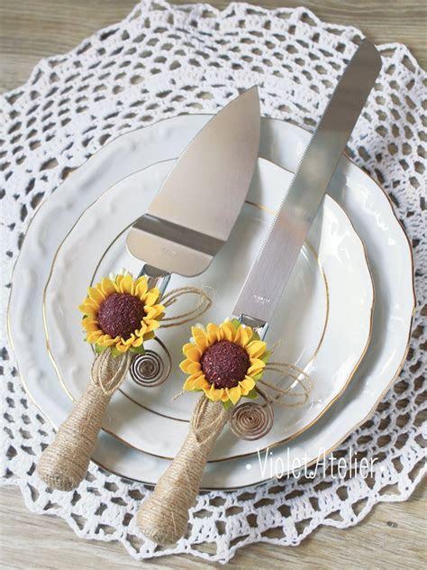 Sunflower Wedding Cake Cutting Set Sunflower by VioletAtelier
