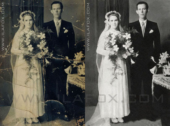foto antiga casamento, restauração fotos antigas, antes e depois, by ila fox